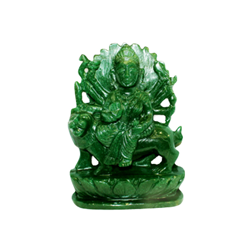 Durga Maa In Green Jade (Gems Murtis)-GEM-DUR001